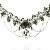 Wholesale Big Rhinestone Cross Pendants - Women Fashion Party Jewelry Black Lace Chockers Big Stone Beads Pendant Necklaces Lady Chains Cross Tassel Pendant Short Necklace