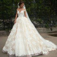 vestidos de casamento para noivas venda por atacado-Vintage Turquia Lace vestido de baile vestido de noiva 2019 fora do ombro princesa Líbano ilusão jóia pescoço árabe noiva vestido de noiva vestido de noiva