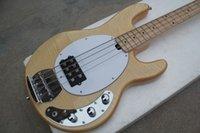 natürliche holzfarbe e-gitarre großhandel-Nagelneue natürliche hölzerne Farben-Musik-Schwarz-Schnur-elektrischer Bass-Gitarren-Ahorn-Griffbrett des Stich-Ray-4 Freies Verschiffen