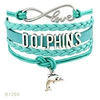 Wholesale Leather Dolphin - (10 Pieces Lot) Infinty Love Dolphins Charm Bracelet Leather Wrap Black Pink Mint Blue Bracelet Drop Shipping