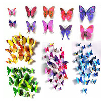 Wholesale Butterfly Bathroom Decor - PVC 3D Butterfly Wall Stickers Wallpaper Decors Cute Butterflies Wall Fridge Sticker Art Decals Decoration For Home Living Room