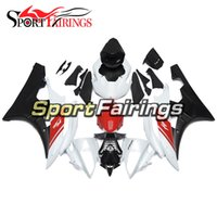 Carrinhos de injeção para Yamaha YZF600 YZF R6 06 07 2006 - 2007 ABS Motorcycle Full Fairing White Pearl Redworkwork Cowling