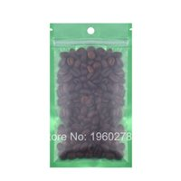Wholesale Coffee Bean Packaging Bags - 12x20cm 100pcs flat bottom Green Translucent matte Reclosable aluminum mylar foil coffee bean snack zipper packaging bags