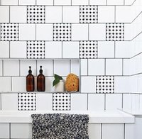 PVC black and white tile bathroom - The bathroom tiles stickers Black and white mosaic chessman waterproof