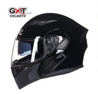Wholesale Red Flip Up Helmet - 2017 New GXT dual lens open face motorcycle helmet full-cover flip up motorbike helmets wiht Anti-fog lens seasons size M L XL