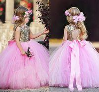 vestidos de lentejuelas rosa niñas al por mayor-Sweety Gold Sequin Pink Falda Flower Girls Vestidos Vestido de bola Tulle Espalda abierta con arco Vestidos de marco para la primera comunión Vestido de cumpleaños DTJ