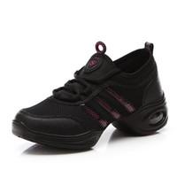 Wholesale Dance Shoes Square Toe - New square dance shoes women's ventilation tennis, aerobics white soft jazz modern dance shoes woman casual shoes