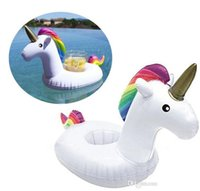 Summer Floating Unicorn Boisson gonflable Bière Cup Can Holder Piscine Jouets de bain Beach Party Bath Toy Environ 20cm