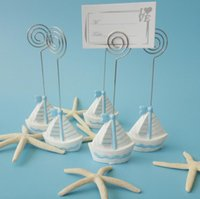Wholesale Sail Boat Place Cards - 10pcs Sailing boat Name Number Menu Table Place Card Holder Clip Wedding Baby Shower Party Reception Favor