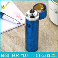 Wholesale Electronic Cigar Smoking - JL108 smoking pipe cigar lighter rechargeable double arc lighter creative USB stereo metal lighter