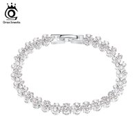 Wholesale Genuine Crystal Bracelets - Orsa Jewelry Luxury Austria Crystal Bracelet,Genuine 925 Sterling Silver with 3 Layer Platininum Plated OB08