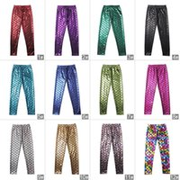 Wholesale Children Cute Tights - Girls Simulation Mermaid Cute Pants baby Colorful Digital Printing Child Leggings Pants mermaid leggings fish scale shiny pants