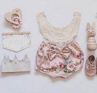 Wholesale Girls Lace Vest Top - 2017 INS Baby Girl Toddler Summer 2piece set outfits Lace Crochet Hollow Tops Tanks Vest Shirt + Rose Floral Shorts Pants Bloomers Cute