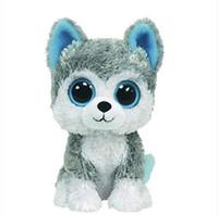 oyuncak köpek köpekleri toptan satış-Toptan-1pc18cm Sıcak Satış Bere Boos Büyük Gözler Husky Köpek Peluş Oyuncak Bebek Dolması Hayvan Sevimli Peluş Oyuncak Çocuk Oyuncak
