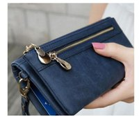 Wholesale Double Zipper Clutch Wallet - Women Fashion Women Wallets Dull Polish Leather Wallet Double Zipper Day Clutch Purse Wristlet Handbags