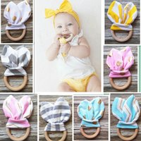 Wholesale Newborn Toys Piece - INS Baby Chevron Zigzag Teethers 38 Colors Natural Wood Circle With Rabbit Ear Fabric Newborn Teeth Practice Toys Handmade Ring 0601311
