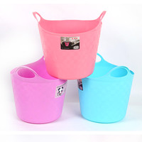 Rideaux de stockage de vêtements sales Barreaux pour enfants Home Multifunctional Handle Basket Daily Things Thicker Bucket Round Plastic Barrels