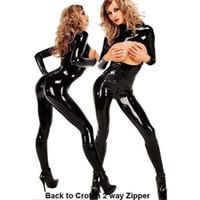 costume en crochet à glissière achat en gros de-Gros-2017 Femmes 2 Way Zipper Cross Crotch Bra Ouvert Latex Catsuit Fantaisie Costume Combinaison Erotic Plus XXL Taille