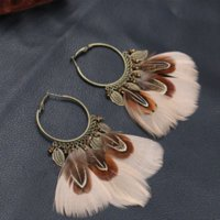 Wholesale Feather Earrings Gold Charms - Vintage Feather Earrings For Women Pendant Indian Jewelry Pendientes Ethnic Round Hanging Earring bijoux brincos HQEF-106