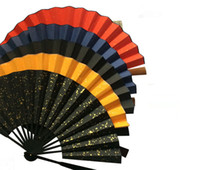 "Wholesale Large Bamboo Paintings - 10"" Large Blank Chinese Rice Paper Hand Fan Adult Calligraphy DIY Fine Art Hand Painting Programs Folding Bamboo Fans Crafts Gift"