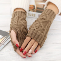Wholesale Cheap Mittens Gloves - Cheap Winter Unisex Men Women Arm Warmer Fingerless Knitted Long Gloves Cute Mittens