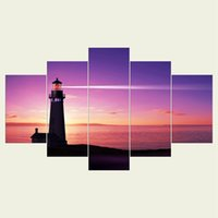 Wholesale Lighthouse Abstract - (No frame) The lighthouse series HD Canvas print 5 Panel Wall Art Oil Painting Textured Abstract Pictures Decor Living Room Decoration