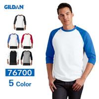 Wholesale Men Raglan Shirts - New Hot Raglan t Shirts For Men 100% Cotton Baseball Sports Mens t Shirts Jersey Crew Neck 3 4 Sleeve Blank tshirt Customization