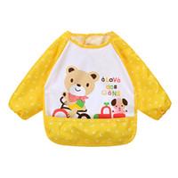 Wholesale Cute Smocks - Wholesale- 2016 Fashion Cute New Cartoon Baby Bibs Waterproof Long Sleeve Burp Cloths Feeding Art Smock Apron Infant Clothing
