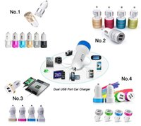 Wholesale 12 Volt Adapters - 4 Type Dual USB Port Travel Adapter car Charger Universal 12 Volt 1-2 A for Samsung iphone Motorola Huawei xiaomi Nokia