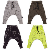 Wholesale Elastic Waist Trousers Boys - Kids boys clothing Pant Geometric Trousers Dimond Prints Harem Pants with Waist Draw cord 2017 Spring Autumn Hotsale Gray Black Green