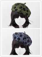 Wholesale Knit Mink Hat - 2017 Rabbit fur Beret hat leopard print brand headgear Fashion female Beanie knitted mink Cap New accessories