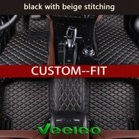 Wholesale fitted floor mats - Veeleo Custom Fit -6 Colors Leather Car Floor Mats for Maserati All Series All Weather Waterproof Anti-slip 3D Car Mats Carpets Liner