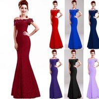 Wholesale summer cocktail dresses for sale - 2018 Designer in stock Off the Shoulder Mermaid Lace Evening Dresses Floor Length Lace up Back Wedding Gown Bridesmaid Dress