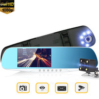 "Wholesale Dvr Gps Night Vision - 4.3"" Dual Lens Full HD 1080p Night Vision 170°Wide Angle Car DVR Camera Rearview Mirror Camera Recorder Registrator Dash Cam"