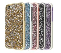 Wholesale Glitter Silicone Iphone Cases - Premium bling glitter case 2 in 1 Luxury diamond rhinestone glitter back cover phone case For iphone x 7 5 6 6s plus Samsung s8 note 8 cases