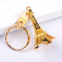 Wholesale Eiffel Tower Keychain Wholesale - Vintage Eiffel Tower Keychain stamped Paris France Tower pendant key ring gifts Fashion Gold Sliver Bronze
