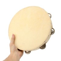 Wholesale Percussion Tambourine Drum - Wholesale- Kids 10 inch Round Hand Held Tambourine Bell with Wood For Children Educational Musical Percussion Toy For kindergarten teaching