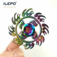 Wholesale Metal Ufo Toy - 2017Luxury Rainbow Tri Vision Spinner UFO Fidget Toy EDC ZINC Alloy HandSpinner Anti Stress ball Reliever Hand fidget spinners retail