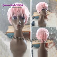 Wholesale Male Real Hair - Hot Sale Stunning Synthetic short pink wavy wig real hair like wig for the fairy man heat resistant hair male wig for man peruca