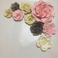wandpapiere mädchen großhandel-Riesenpapier Blumen Set 9 stücke Für Hochzeitshintergründe Dekorationen Für Wand Mädchen Baby Shower Mix Blumen Stile Sets