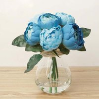 Fleurs Artificielles Bleu Pas Cher-Blue Damas Rose Bunch Silk Artificial Flowers Real-look Wedding Home Decor