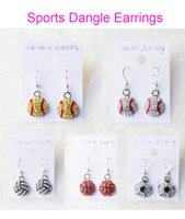 Wholesale Bling Earrings Wholesale - Dangle Earring Softball Baseball Football Basketball Volleyball Soccer Bowling Skating Rhinestone Crystal Bling for Girls Sports