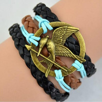 Wholesale Harry Potter Hallows Bracelet - free shipping Europe and the United States hot hand-woven harry potter and the deathly hallows wings leather cord bracelet #3229