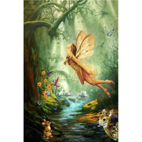 Wholesale Folk Butterflies - Angels and butterflies DIY Diamond Painting Embroidery 5D Beauty Cross Stitch Crystal Square Unfinish Home Bedroom Wall Art Decor Craft Gift