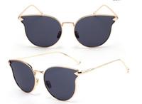 Wholesale Unique Amber - 2018 New Fashion Luxury Oversize Cat Sunglasses Women Men Fashion Vintage Metal Frame Mirror Sun Glasses Unique Unisex Gafas Oculos De Sol g