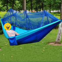 Wholesale Outdoors Travel Double Person Parachute Fabric Cloth Hammock Camping Mosquito Net Mosquito Curtain Bar Hammocks Portable Type jz C