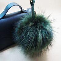 Wholesale Wholesale Plush Raccoon - 16cm Luxury Fluffy Real Raccoon Fur Ball Pom Pom Plush Size Genuine Fur Key Chain Keychain Metal Ring Pendant Bag Charm