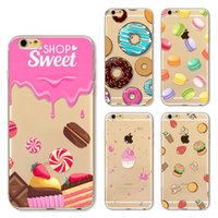 Wholesale Ice Cream Case For Iphone - For Apple iphone 6 6S plus iphone 7 plus SE silicone case Cute cartoon Plating TPU cell phone cases cover shell cookies hamburger ice cream