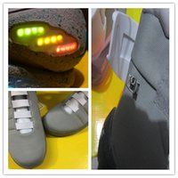Wholesale Led Light Box Table - With Box Men Black GREY Mens Basketball Shoes With LED Lights Lighting High Top Sport Sneakers