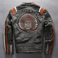 Wholesale cow leather jackets - American customs AVIREXFLY Locomotive jackets Motor spirit genuine motorcycle leather jackets vintage cow leather embroidery back